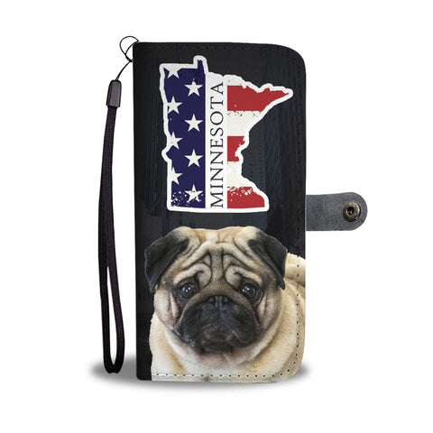 Pug Dog Print Wallet Case-Free Shipping-MN State
