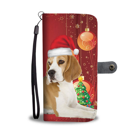 Beagle With Christmas Print Wallet Case-Free Shipping