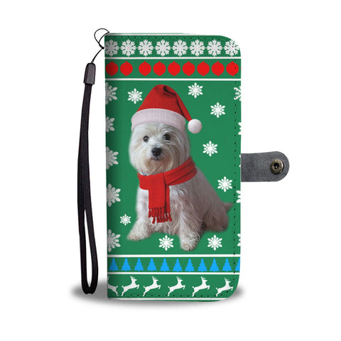 West Highland White Terrier (Westie) Green Christmas Print Wallet Case-Free Shipping