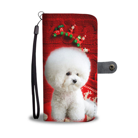 Bichon Frise On Christmas Print Wallet Case-Free Shipping