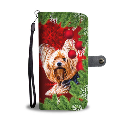 Cute Yorkie Christmas Print Wallet Case-Free Shipping