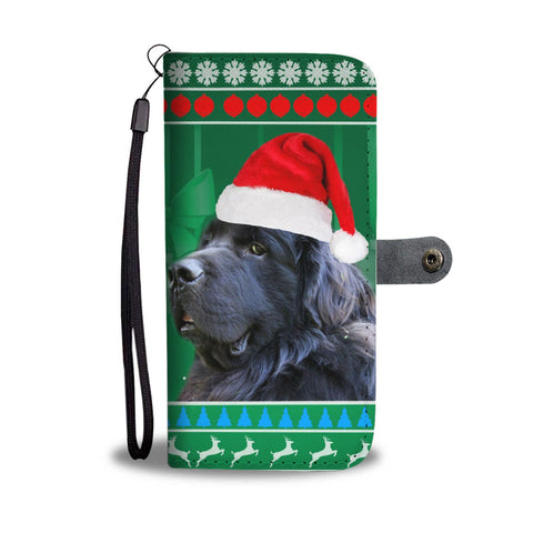 Newfoundland Dog Green Christmas Print Wallet Case-Free Shipping