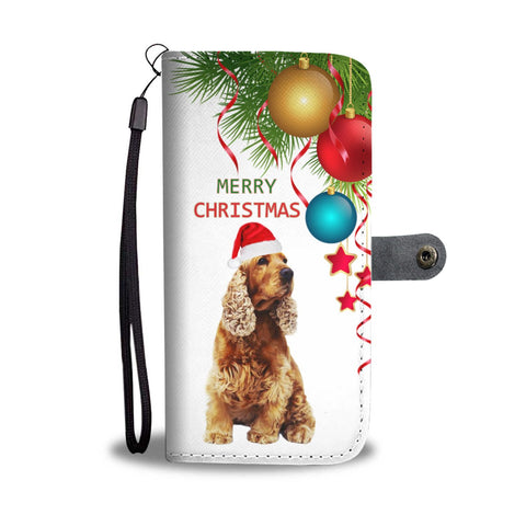English Cocker Spaniel Christmas Print Wallet Case-Free Shipping