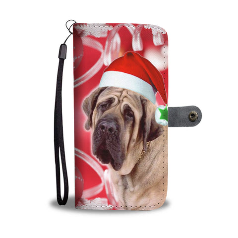 English Mastiff On Christmas Print Wallet Case-Free Shipping