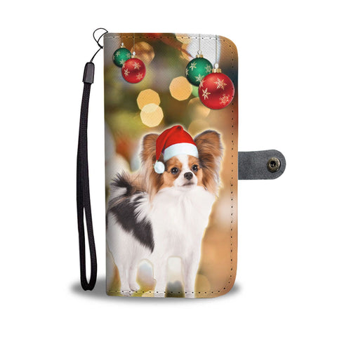 Papillon Dog On Christmas Print Wallet Case-Free Shipping