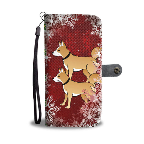 Brown Eskimo Dog On Red Christmas Print Wallet Case-Free Shipping