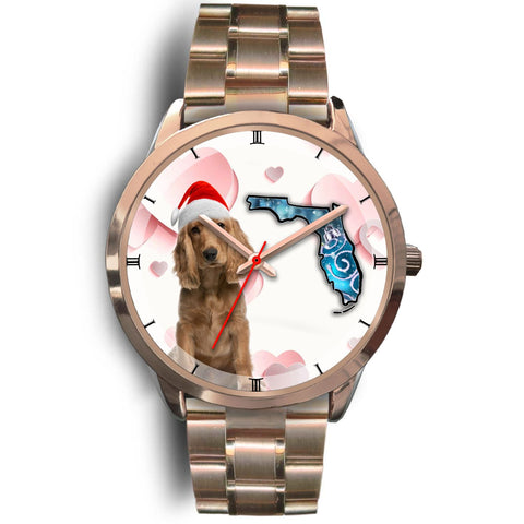 Cocker Spaniel On Christmas Florida Golden Wrist Watch-Free Shipping