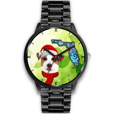 Jack Russell Terrier On Christmas Florida Wrist Watch-Free Shipping