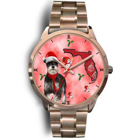 Miniature Schnauzer On Christmas Florida Golden Wrist Watch-Free Shipping