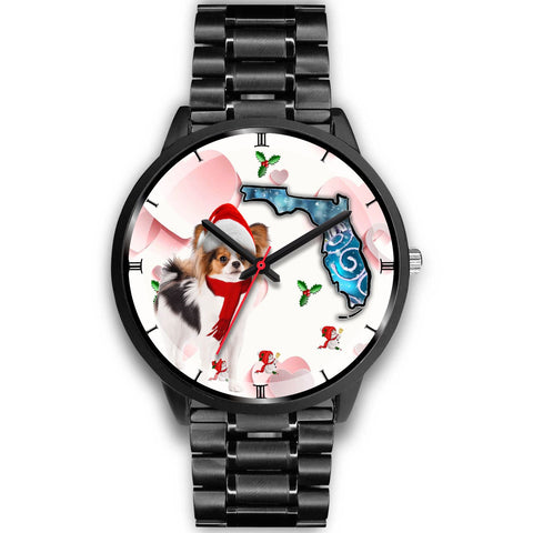 Papillon Dog On Christmas Florida Wrist Watch-Free Shipping
