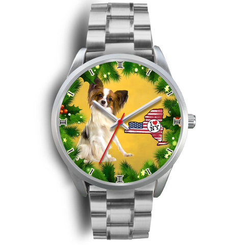Cute Papillon Dog New York Christmas Special Wrist Watch-Free Shipping
