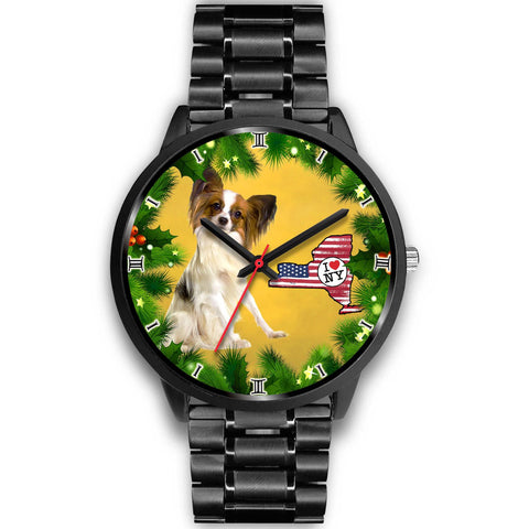 Lovely Papillon Dog New York Christmas Special Wrist Watch-Free Shipping