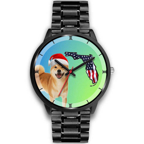 Shiba Inu Dog On Christmas Florida Black Wrist Watch-Free Shipping