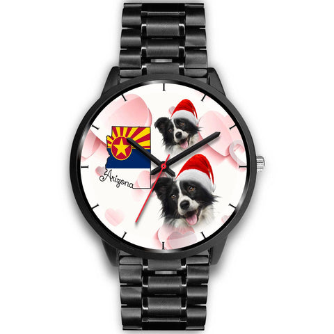 Cute Border Collie On Christmas Arizona Wrist Watch-Free Shipping
