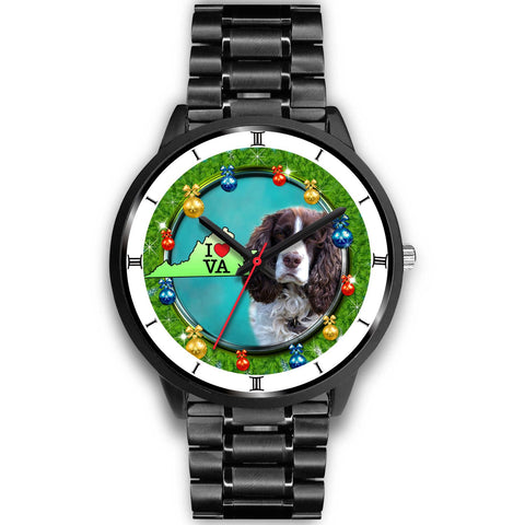 English Springer Spaniel Dog Virginia Christmas Special Wrist Watch-Free Shipping