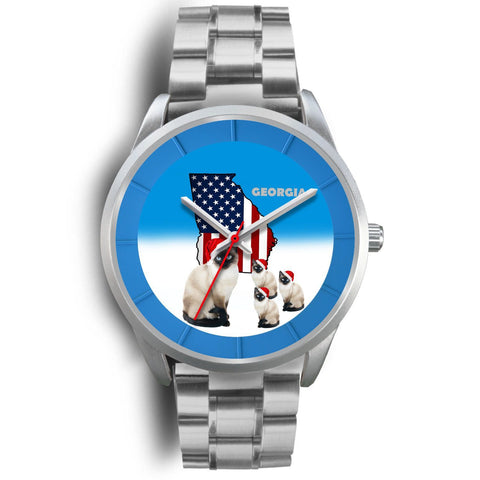 Siamese Cat Georgia Christmas Special Wrist Watch-Free Shipping