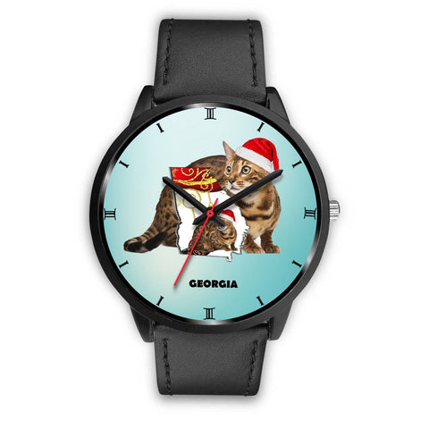 Bengal Cat Georgia Christmas Special Wrist Watch-Free Shipping
