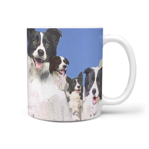 Cute Border Collie Mount Rushmore Print 360 White Mug
