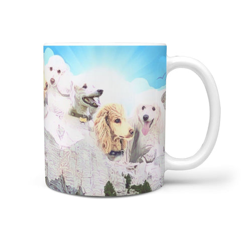Cute Poodle Dog Print Mount Rushmore 360 White Mug