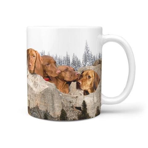 Vizsla Dog Mount Rushmore Print 360 White Mug