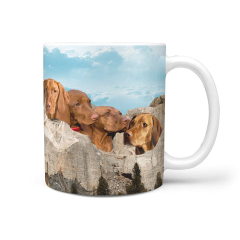 Lovely Vizsla Dog Mount Rushmore Print 360 White Mug