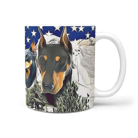 Doberman Pinscher Mount Rushmore Print 360 White Mug