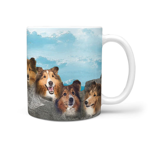 Shetland Sheepdog Art Mount Rushmore Print 360 Mug