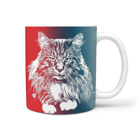 Maine Coon Cat Print 360 White Mug
