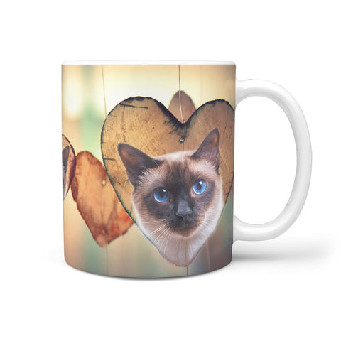 Siamese Cat Print 360 White Mug