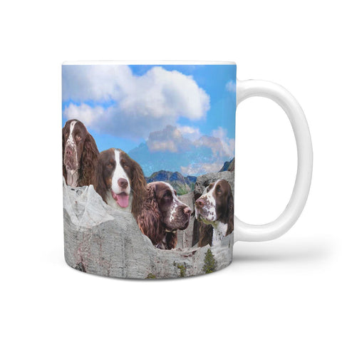 English Springer Spaniel Dog On Mount Rushmore Print 360 Mug