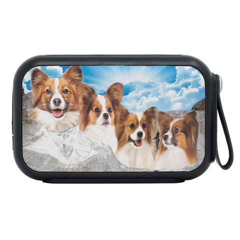 Papillon Dog On Mount Rushmore Print Bluetooth Speaker