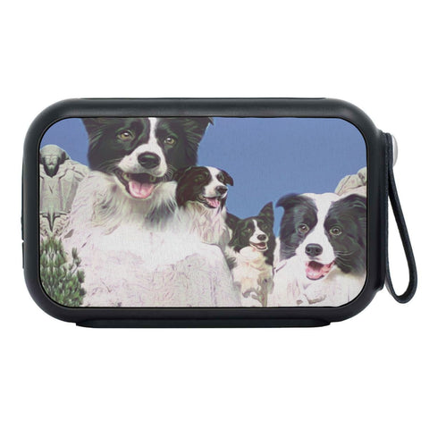 Border Collie Mount Rushmore Print Bluetooth Speaker