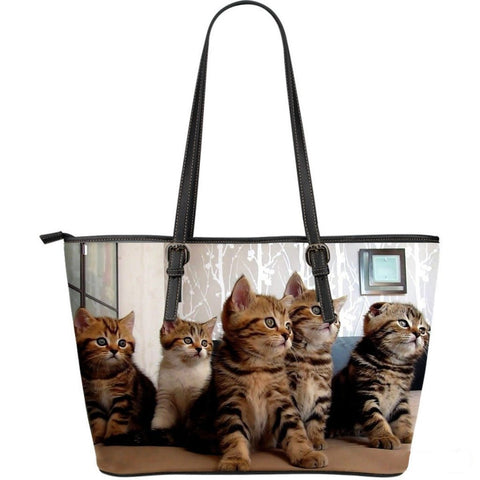 Cat In Lot-Large Leather Tote Bag-Free Shipping-Paww-Printz-Merchandise