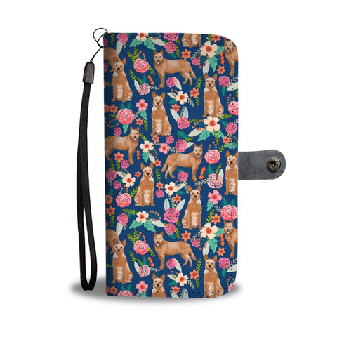 Australian Cattle Dog Floral Print Wallet Case-Free Shipping