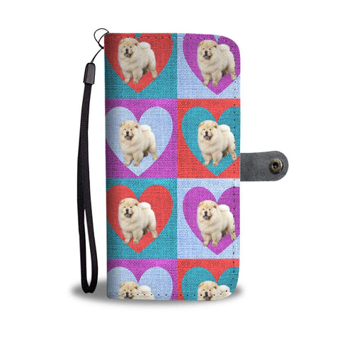 Chow Chow Dog In Hearts Print Wallet Case-Free Shipping