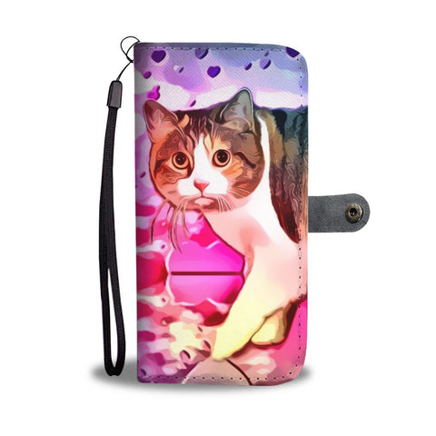 Cute Manx Cat Print Wallet Case-Free Shipping