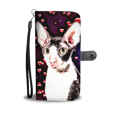 Cornish Rex Cat With Love Print Wallet Case-Free Shipping