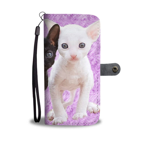 Lovely Cornish Rex Cat Print Wallet Case-Free Shipping