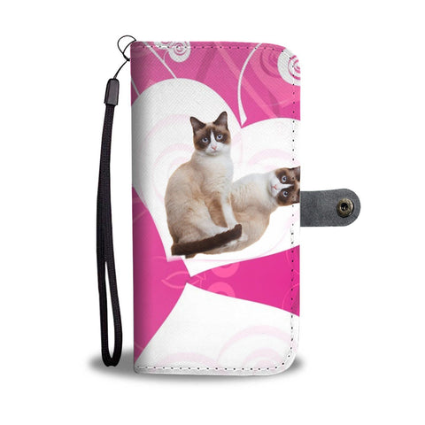 Snowshoe Cat Print Wallet Case-Free Shipping