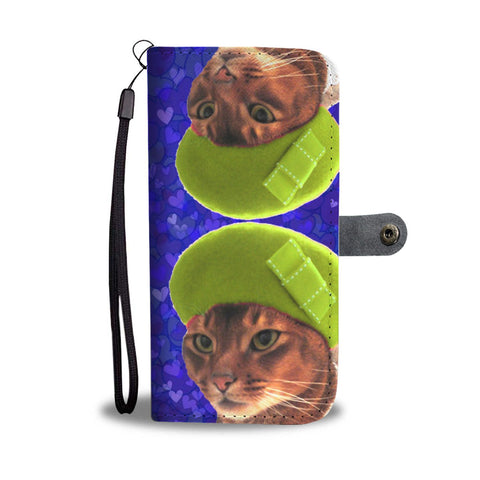 Abyssinian Cat On Hearts Print Wallet Case-Free Shipping
