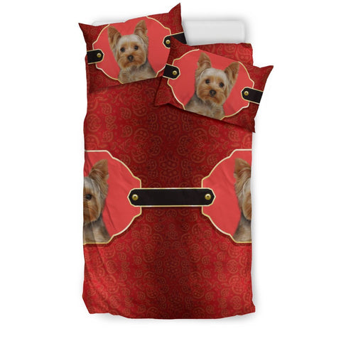 Cute Yorkshire Terrier (Yorkie) Print On Red Bedding Set-Free Shipping