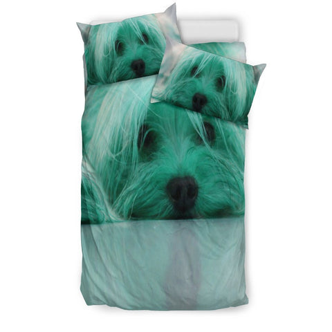 Cute Yorkie Lite Green Print Bedding Set-Free Shipping