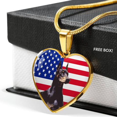 Doberman Pinscher Print Heart Pendant Luxury Necklace-Free Shipping