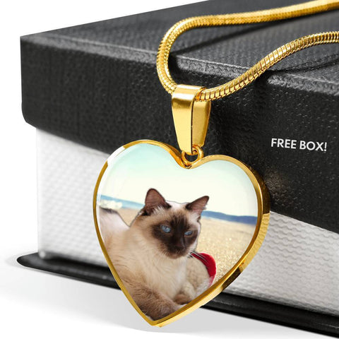 Balinese Cat Print Heart Pendant Luxury Necklace-Free Shipping