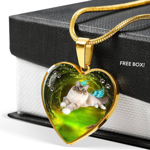 Birman Cat Print Heart Charm Necklaces-Free Shipping