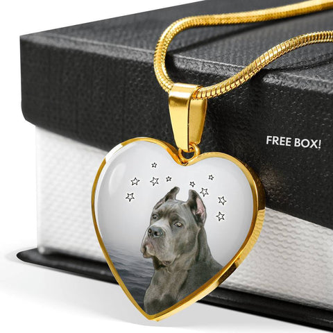 Cane Corso Print Heart Pendant Luxury Necklace-Free Shipping
