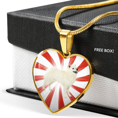 American Eskimo Dog Print Heart Pendant Luxury Necklace-Free Shipping