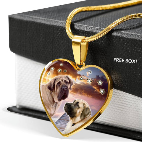 English Mastiff Print Heart Pendant Luxury Necklace-Free Shipping