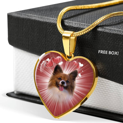 Cute Papillon Dog Print Heart Pendant Luxury Necklace-Free Shipping