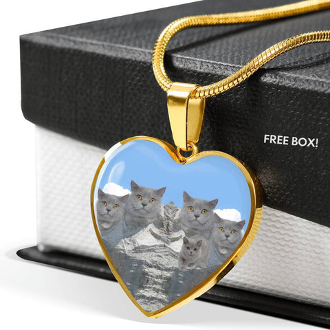 Cute British Shorthair Cat Print Heart Pendant Luxury Necklace-Free Shipping